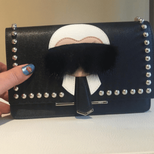Fendi Black Studded Karlito Clutch Bag