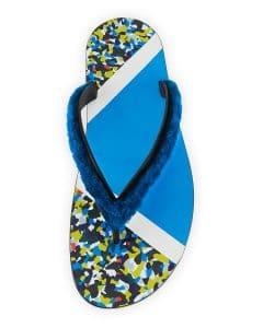 Fendi Multicolor Bag Bugs Granite Print Fur Flip-Flop Sandal