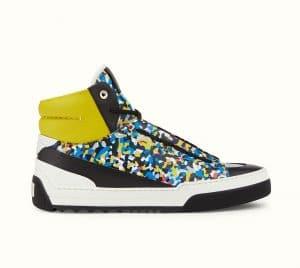 Fendi Multicolor Bag Bugs Granite Print High-Top Lace-Up Sneaker
