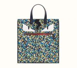 Fendi Multicolor Bag Bugs Granite Print Nylon Tote Bag