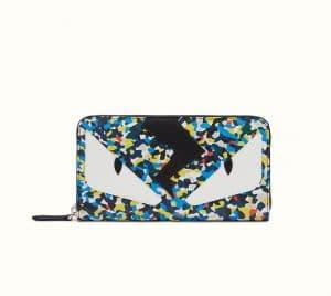 Fendi Multicolor Bag Bugs Granite Print Zip-Around Wallet