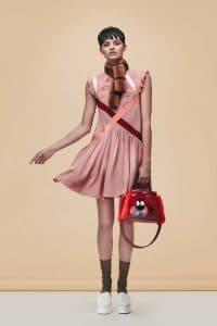 Fendi Red Leather/Fur Floral Embellished Peekaboo Bag - Pre-Fall 2016