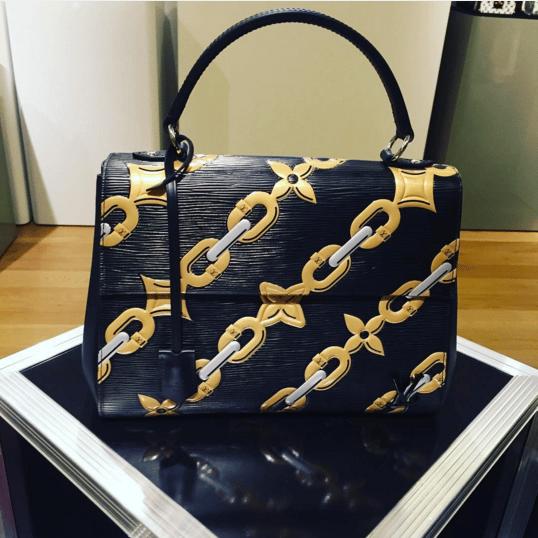 Louis Vuitton Black/Gold Chain Print Cluny Bag - Spring 2016