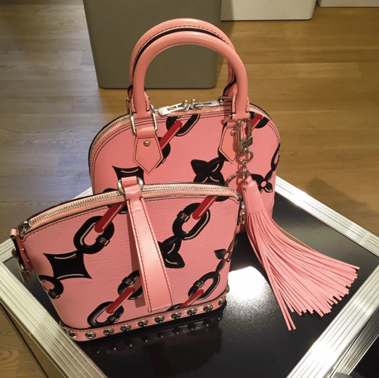 Louis Vuitton Pink Chain Print Alma and Clutch Bags - Spring 2016