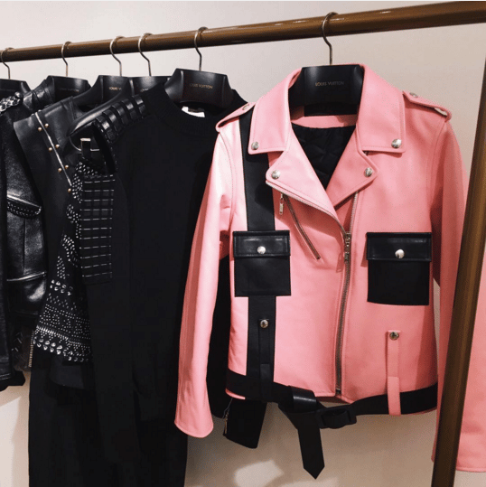 Louis Vuitton Pink Leather Jacket and Black Dresses - Spring 2016