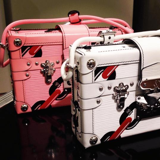 Louis Vuitton Pink/White Chain Print Petite Malle Bags - Spring 2016