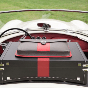 Moynat Black/Red Limousine Briefcase and Gray/Red Holdall Ruban Clutch Bags
