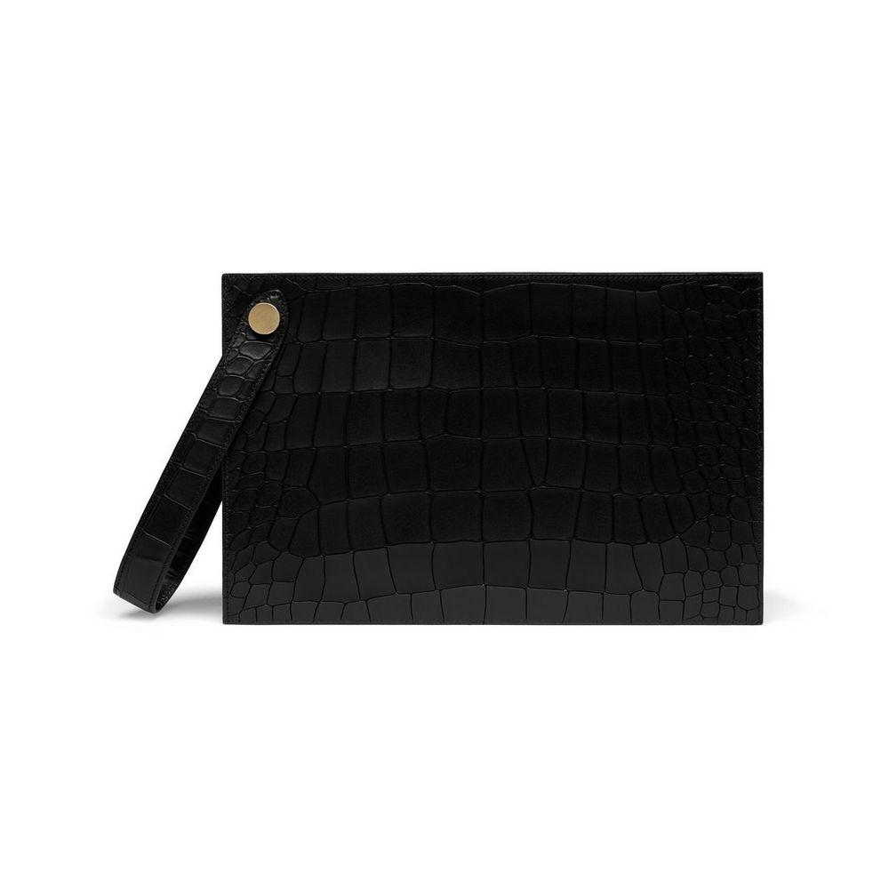 daced494eb14 Mulberry Black Deep Embossed Croc Print Kite Clutch Bag