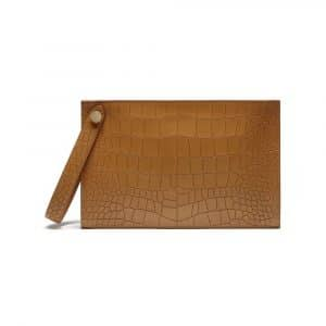 Mulberry Camel Deep Embossed Croc Print Kite Clutch Bag