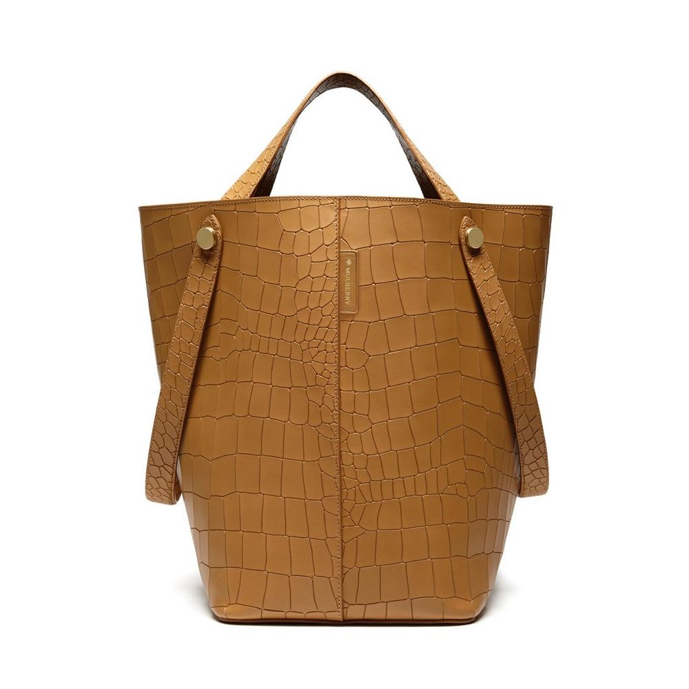 ... authentic mulberry camel deep embossed croc print kite tote bag 8684f  3004d c886492166e70