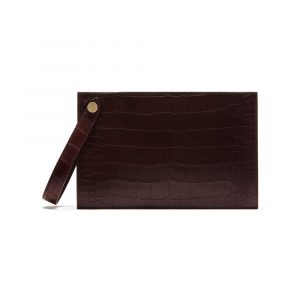 Mulberry Oxblood Deep Embossed Croc Print Kite Clutch Bag