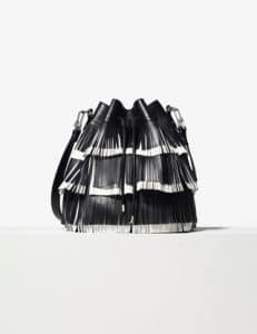 Proenza Schouler Black/White Medium Fringe Bucket Bag