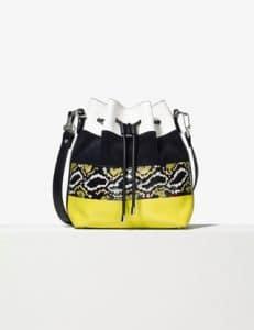 Proenza Schouler Optic White/Navy/Sulphur Striped Ayers/Canvas Medium Bucket Bag