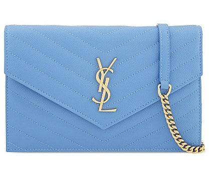 Saint Laurent Light Blue Matelasse Monogram Chain Wallet