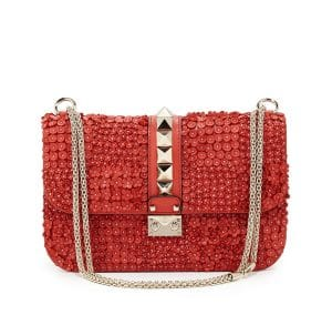 Valentino Deep Coral Garden Couture Embellished Lock Flap Bag