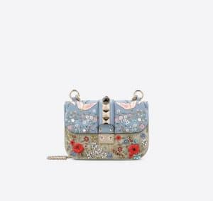 Valentino Multicolor Garden Couture Embellished Lock Flap Small Bag