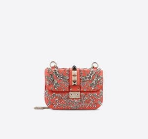 Valentino Red Garden Couture Embellished Lock Flap Small Bag
