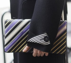 Bottega Veneta Black Multicolor Striped Fold Over Clutch Bag 3