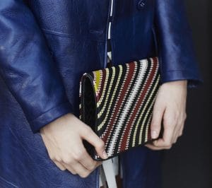 Bottega Veneta Black Multicolor Striped Fold Over Clutch Bag