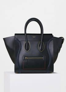 Celine Black with Multicolor Double Stitching Mini Luggage Bag