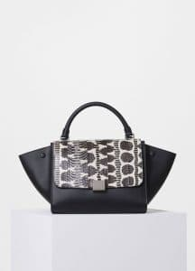 Celine Black/White Watersnake/Calfskin Small Trapeze Bag