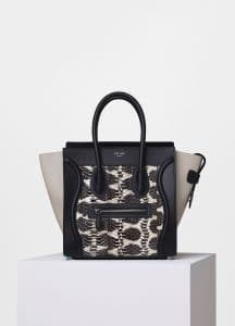 Celine Black/White/Chalk Printed Watersnake/Calfskin Micro Luggage Bag