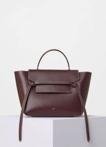 Celine Burgundy with White Double Stitching Mini Belt Bag