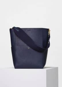 Celine Navy Blue Goatskin Seau Sangle Shoulder Bag