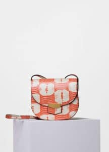 Celine Orange/White Printed Watersnake Small Trotteur Shoulder Bag