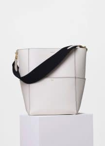 Celine White with Black Double Stitching Seau Sangle Shoulder Bag