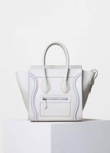 Celine White with Multicolor Double Stitching Micro Luggage Bag