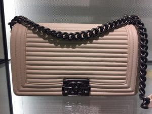 Chanel Beige Horizontal Quilted Old Medium Boy Flap Bag