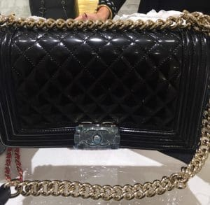 Chanel Black Iridescent Calfskin Boy Bag