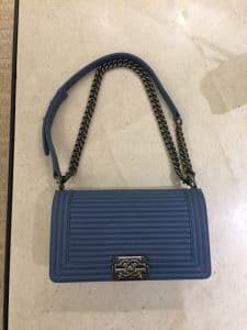 Chanel Blue Horizontal Quilted Old Medium Boy Flap Bag