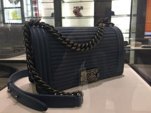 Chanel Blue Horizontal Quilted Small Boy Flap Bag
