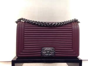 Chanel Burgundy Horizontal Quilted Old Medium Boy Flap Bag