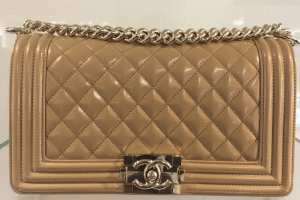Chanel Dark Beige Iridescent Calfskin Boy Bag