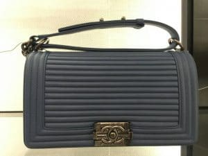 Chanel Gray Horizontal Quilted Old Medium Boy Flap Bag