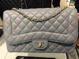 Chanel Light Gray Mademoiselle Chic Jumbo Flap Bag