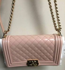 Chanel Light Pink Iridescent Calfskin Boy Bag 2