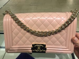 Chanel Light Pink Iridescent Calfskin Boy Bag 3