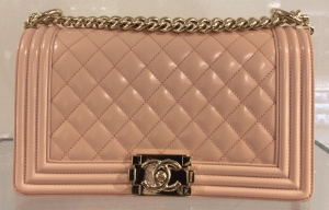 Chanel Light Pink Iridescent Calfskin Boy Bag