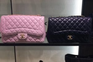 Chanel Light Pink and Blue Mademoiselle Chic Jumbo Flap Bags