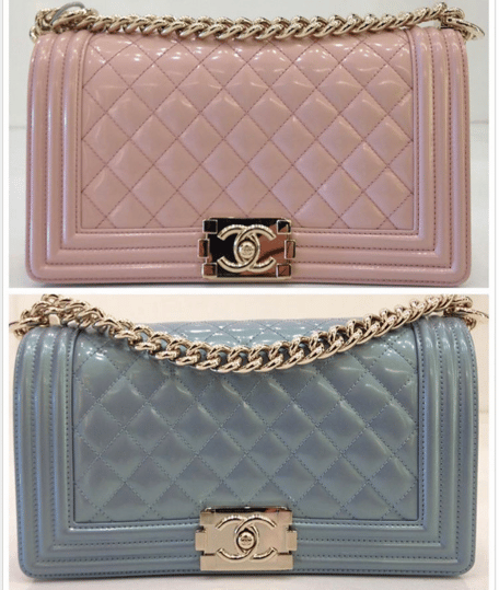 672a2e51dbff Chanel Light Pink and Light Blue Iridescent Calfskin Boy Bags. IG   hallobeanme