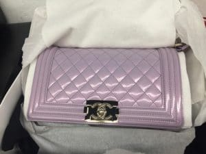Chanel Light Purple Iridescent Calfskin Boy Bag 2