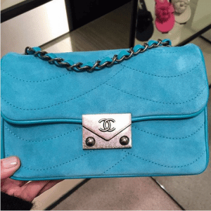 Chanel Turquoise Suede Pagoda Flap Small Bag