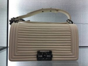 Chanel White Horizontal Quilted Old Medium Boy Flap Bag