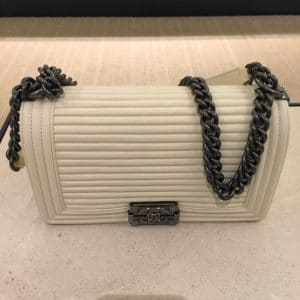Chanel White Horizontal Quilted Small Boy Flap Bag 2