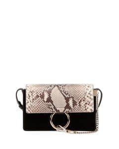 Chloe Black Python/Leather/Suede Faye Small Bag