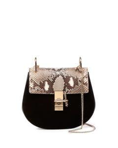 Chloe Black Python/Suede Drew Small Bag